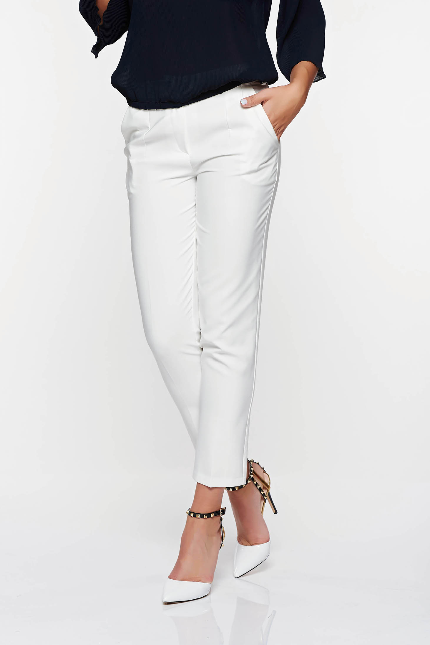 Artista white trousers office with pockets with medium waist slightly elastic fabric