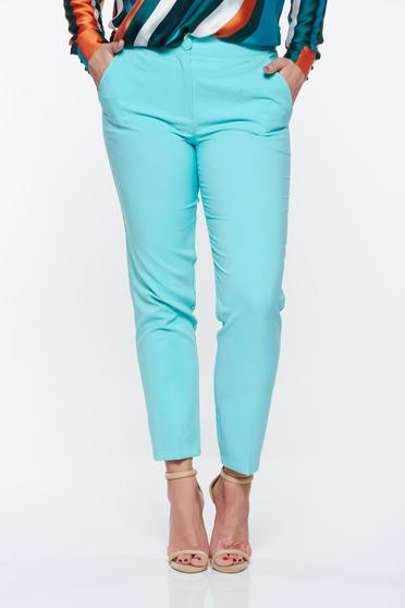 Artista mint trousers office with pockets with medium waist slightly elastic fabric