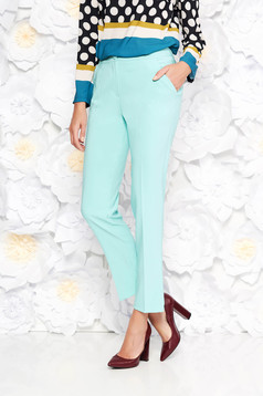 Artista mint trousers office with pockets with medium waist slightly elastic fabric with straight cut