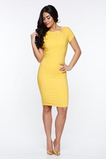 LaDonna yellow elegant pencil dress handmade applications with inside lining
