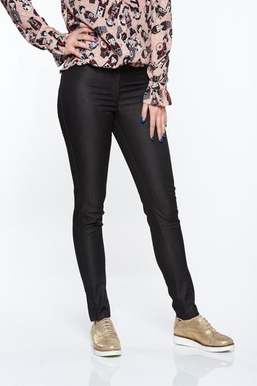 PrettyGirl black office conical trousers with medium waist nonelastic cotton