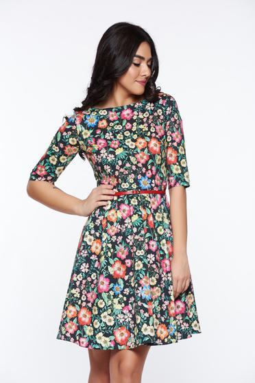 PrettyGirl darkblue elegant cloche cotton dress accessorized with tied waistband