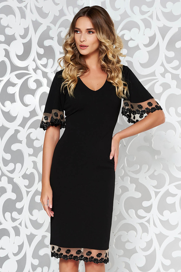 StarShinerS black occasional pencil dress from elastic fabric with lace details
