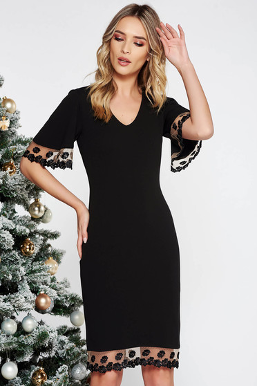 StarShinerS black dress occasional pencil from elastic fabric with lace details