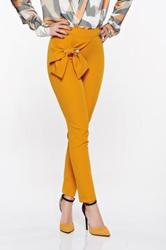 PrettyGirl mustard elegant conical high waisted trousers slightly elastic fabric