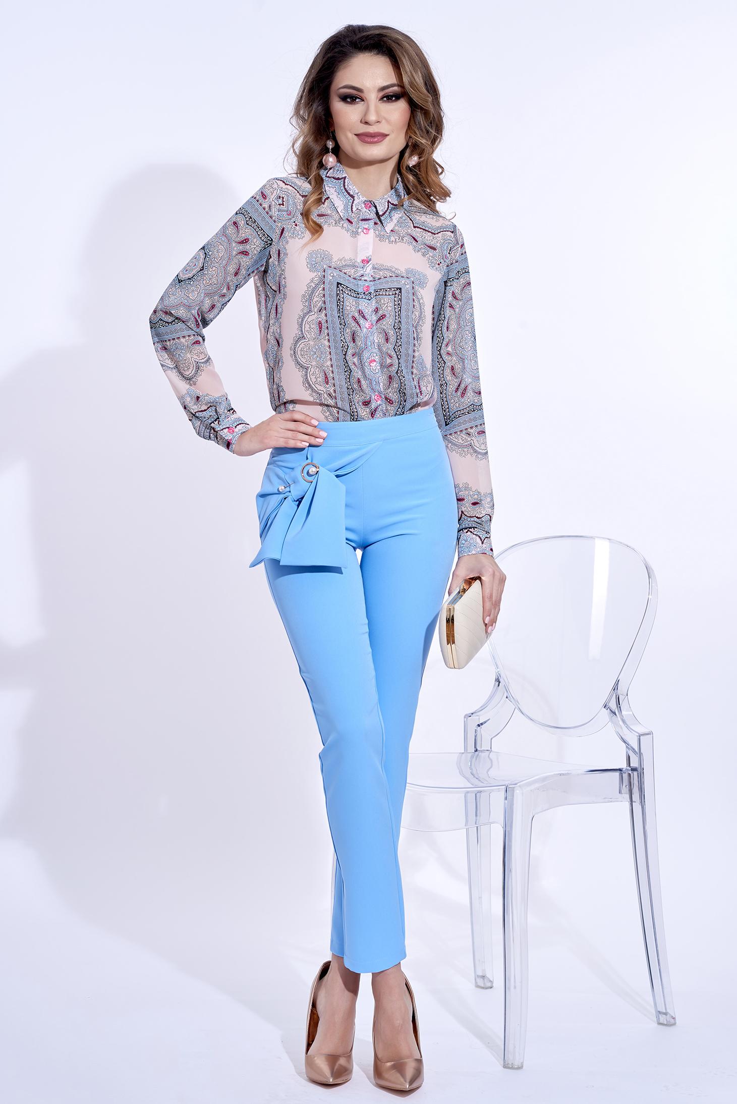 Pantaloni PrettyGirl albastri deschis eleganti conici din material usor elastic cu talie inalta