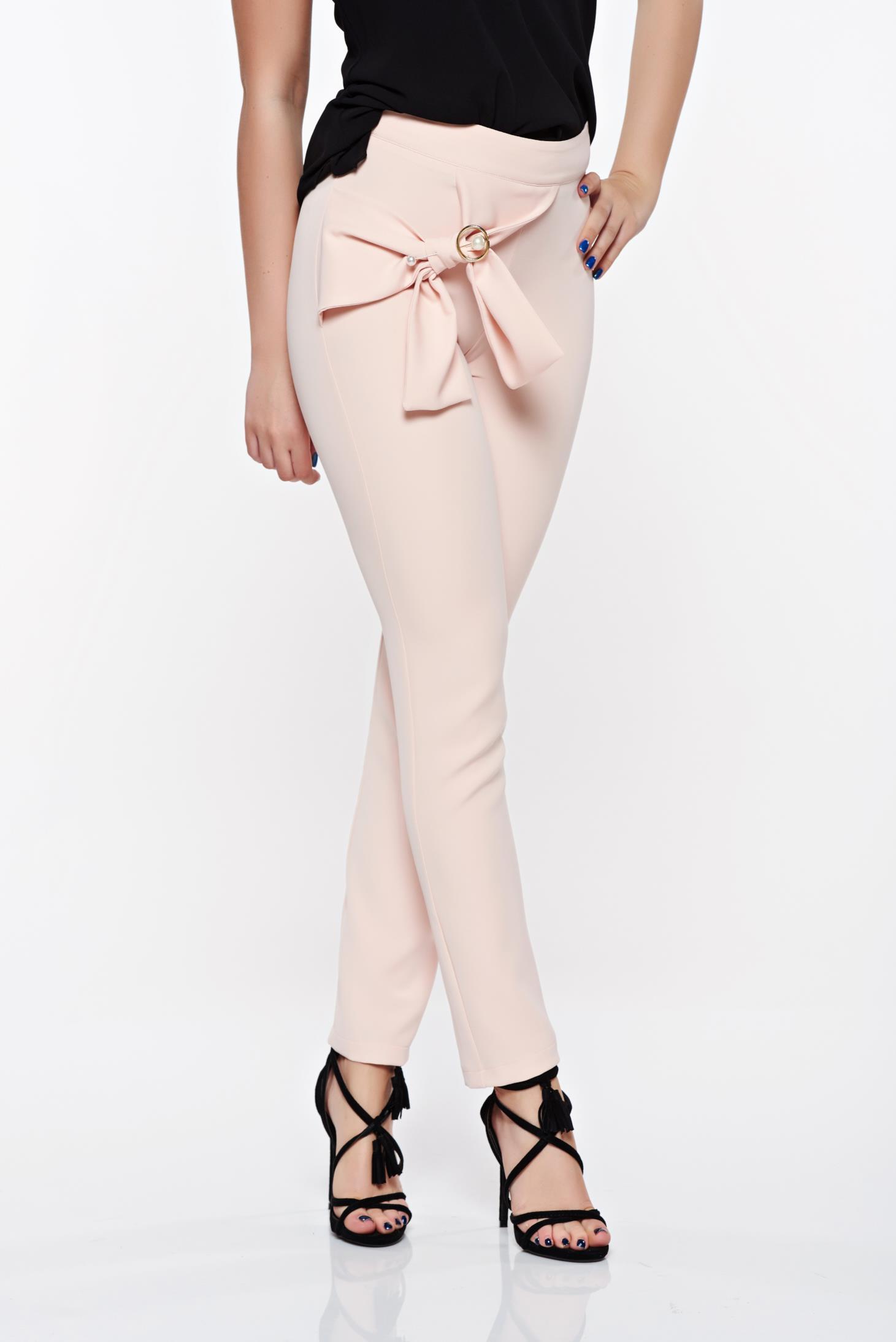 PrettyGirl rosa elegant conical high waisted trousers slightly elastic fabric