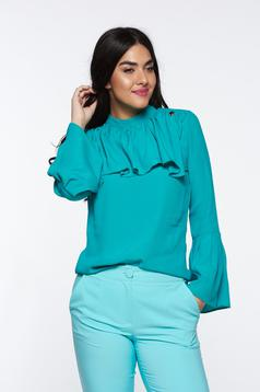 PrettyGirl green elegant women`s blouse airy fabric with easy cut with ruffles on the chest