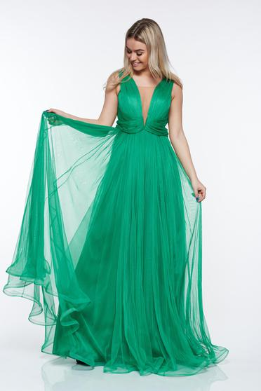 Ana Radu green luxurious dress from tulle with inside lining with push-up cups