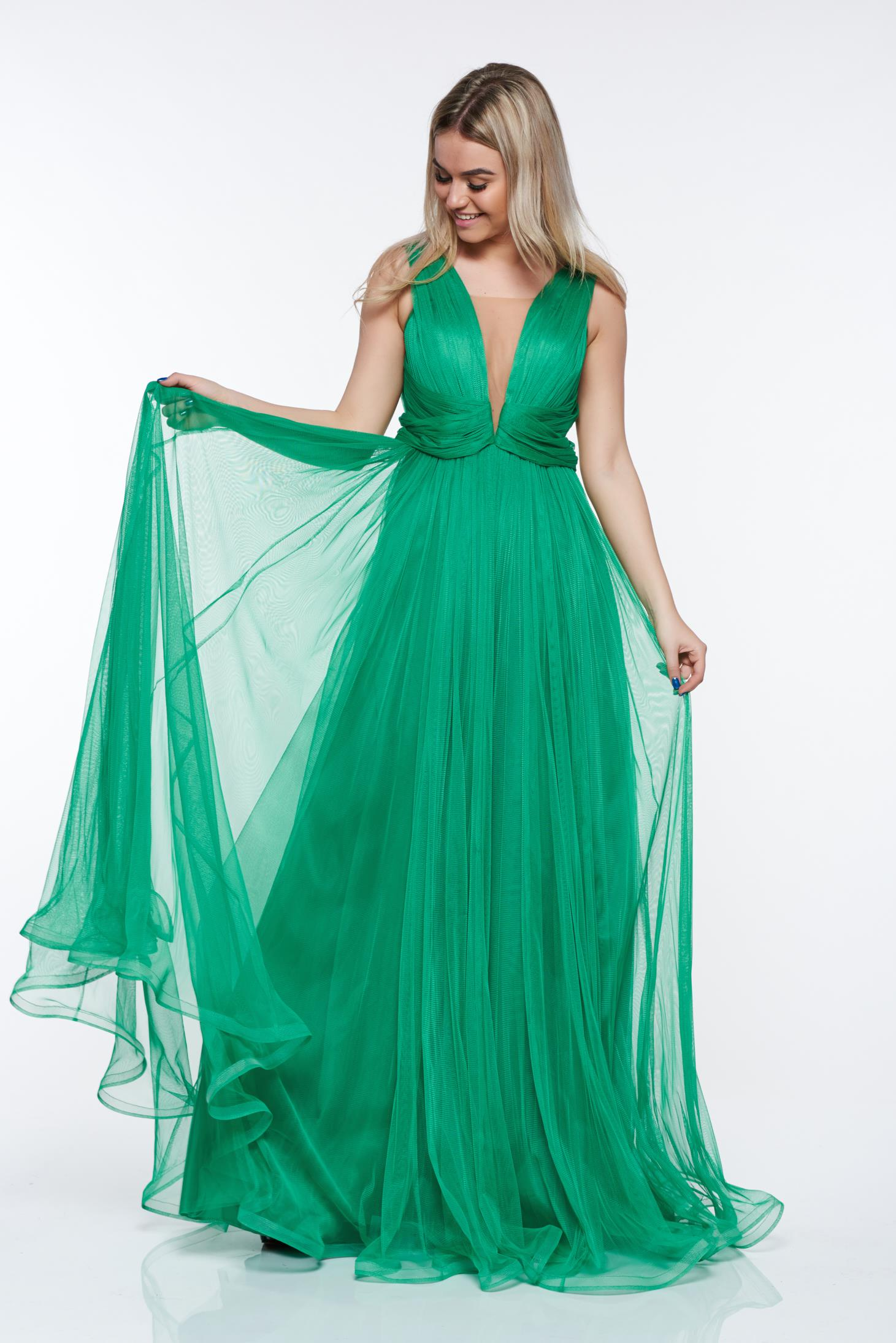 Radu green luxurious dress from tulle with inside lining with push ...