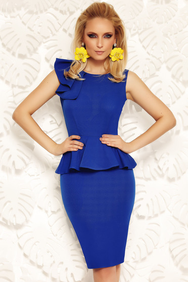 Fofy blue elegant pencil dress with frilled waist
