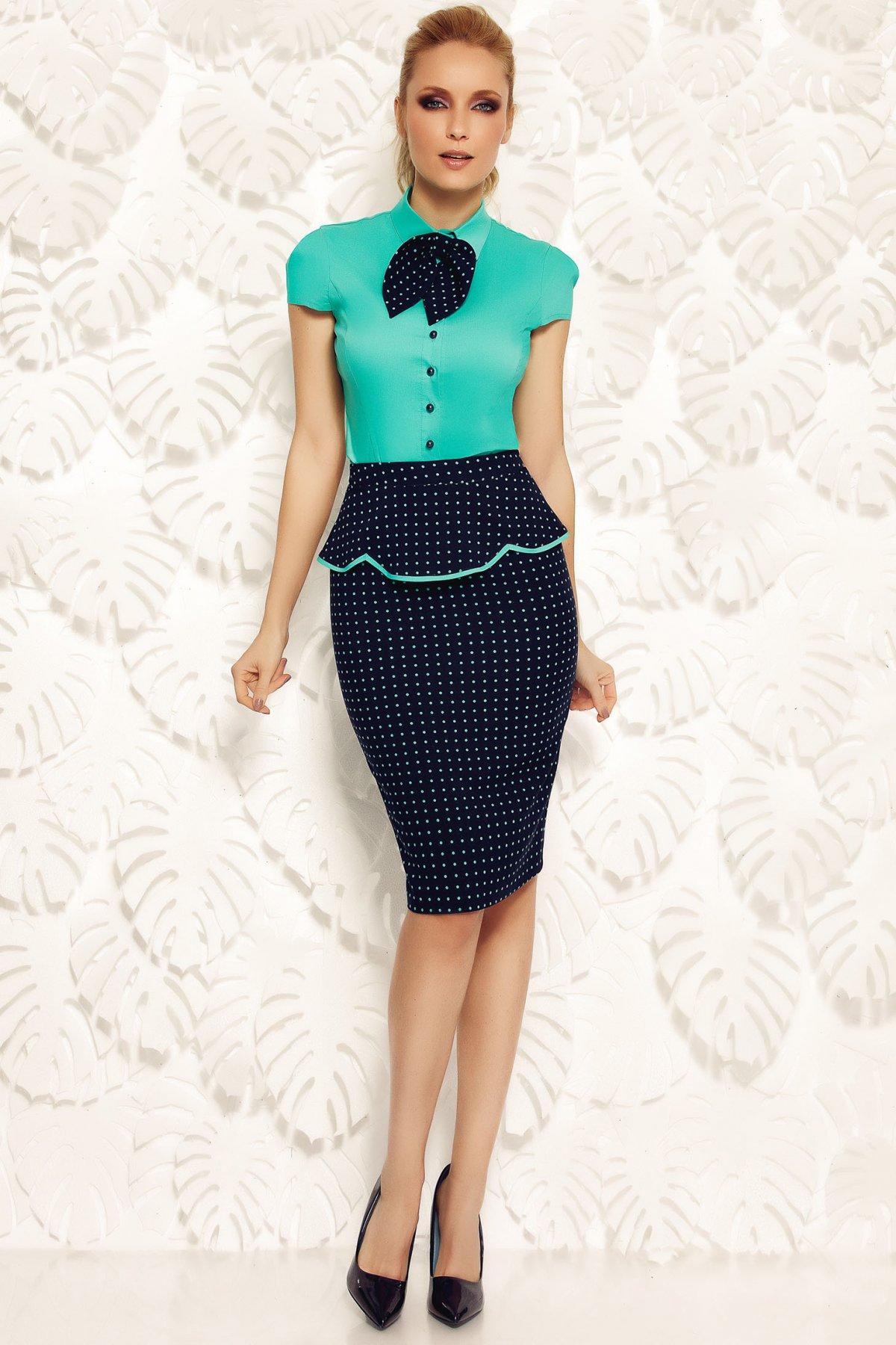 Camasa dama Fofy verde office din bumbac elastic cu un croi mulat accesorizata cu o fundita