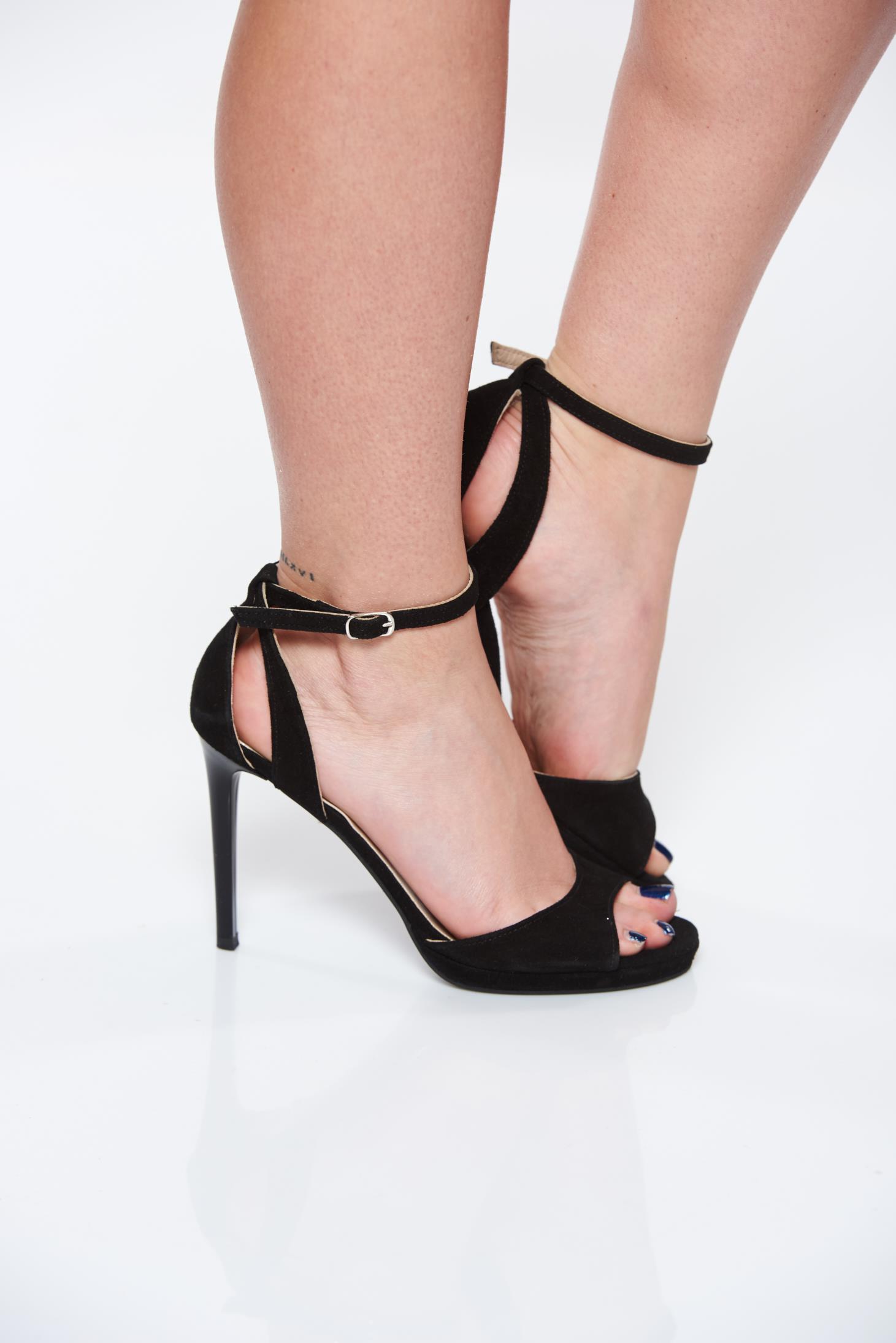 Sandale negre elegante din piele naturala cu toc inalt si
