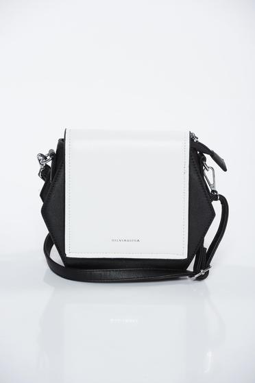 Black bag casual from ecological leather long, adjustable handle