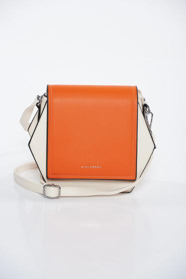Cream bag casual from ecological leather long, adjustable handle