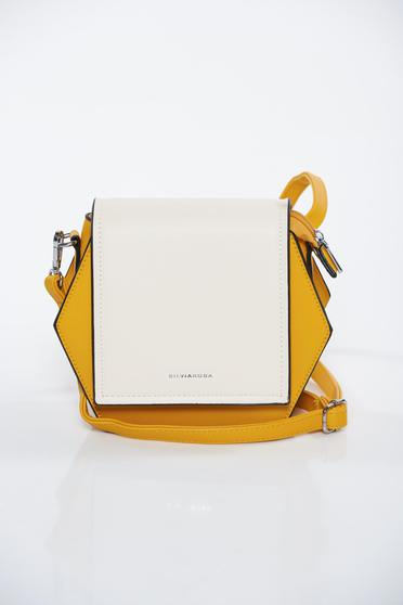 Yellow bag casual from ecological leather long, adjustable handle