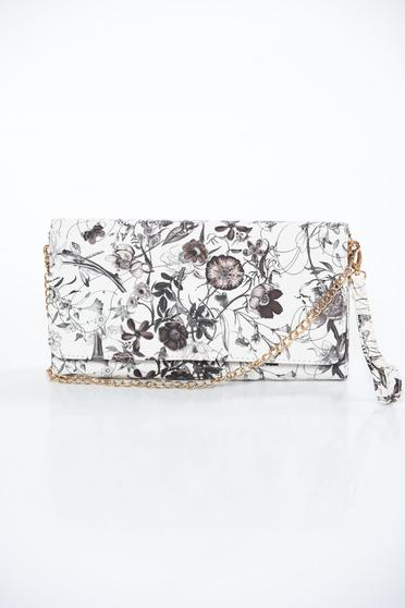 White bag clutch from ecological leather long chain handle