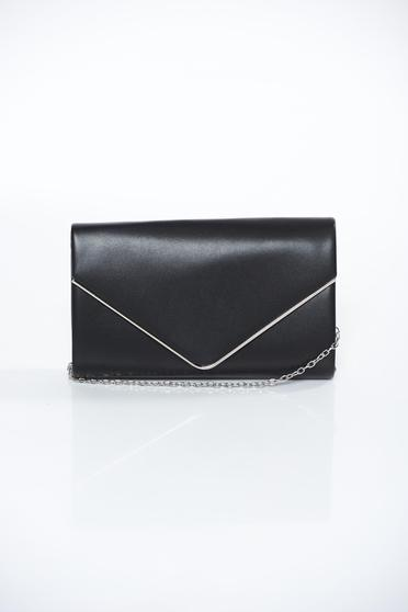 Black bag clutch from ecological leather long chain handle