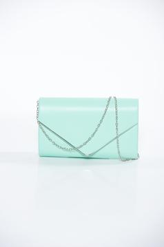 Lightgreen bag clutch from ecological leather long chain handle