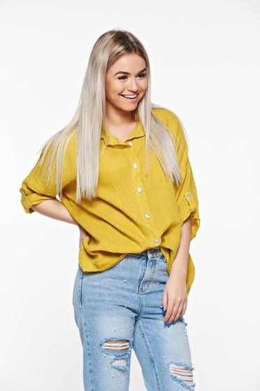 SunShine mustard casual women`s shirt with easy cut linen with pointed collar