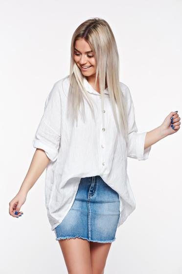 SunShine white casual women`s shirt with easy cut linen with pointed collar