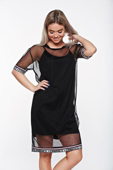 SunShine black casual flared dress transparent fabric with inside lining