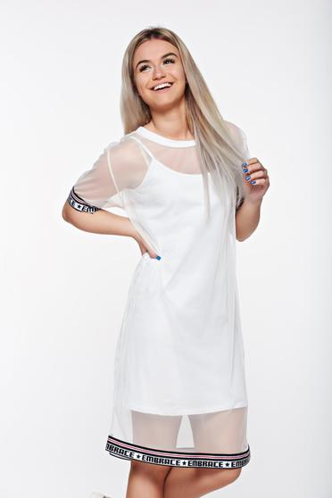 SunShine white casual flared dress transparent fabric with inside lining