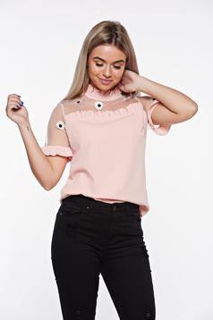 SunShine rosa elegant embroidered women`s blouse with easy cut with ruffled sleeves