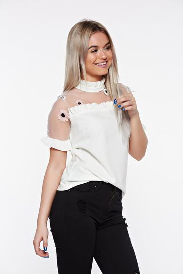 SunShine white elegant embroidered women`s blouse with easy cut with ruffled sleeves