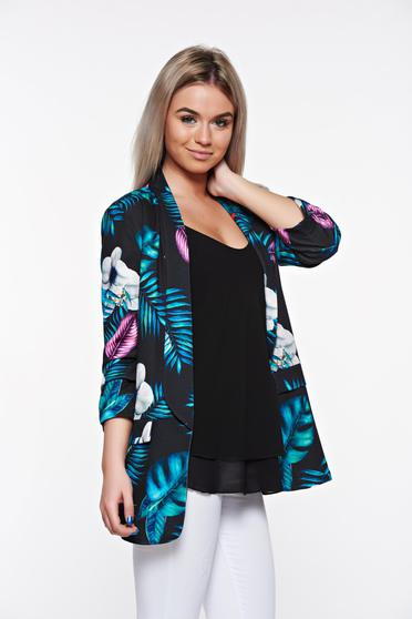 SunShine black jacket casual with inside lining from elastic fabric flared