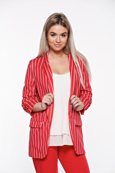SunShine red jacket casual with inside lining from elastic fabric flared