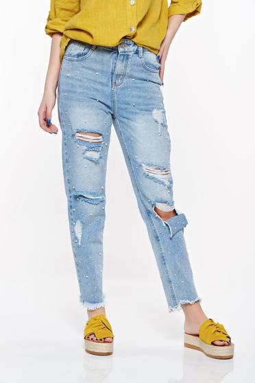 SunShine lightblue casual boyfriend jeans with ruptures nonelastic cotton with pockets