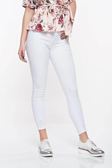 SunShine white casual skinny jeans jeans elastic cotton with medium waist with front and back pockets