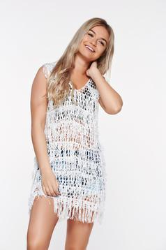 Sunshine White Beach Wear Top Shirt With Easy Cut Transpa Fabric Fringes