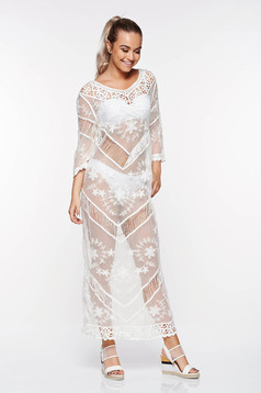 SunShine white beach wear dress cotton with embroidery details with easy cut