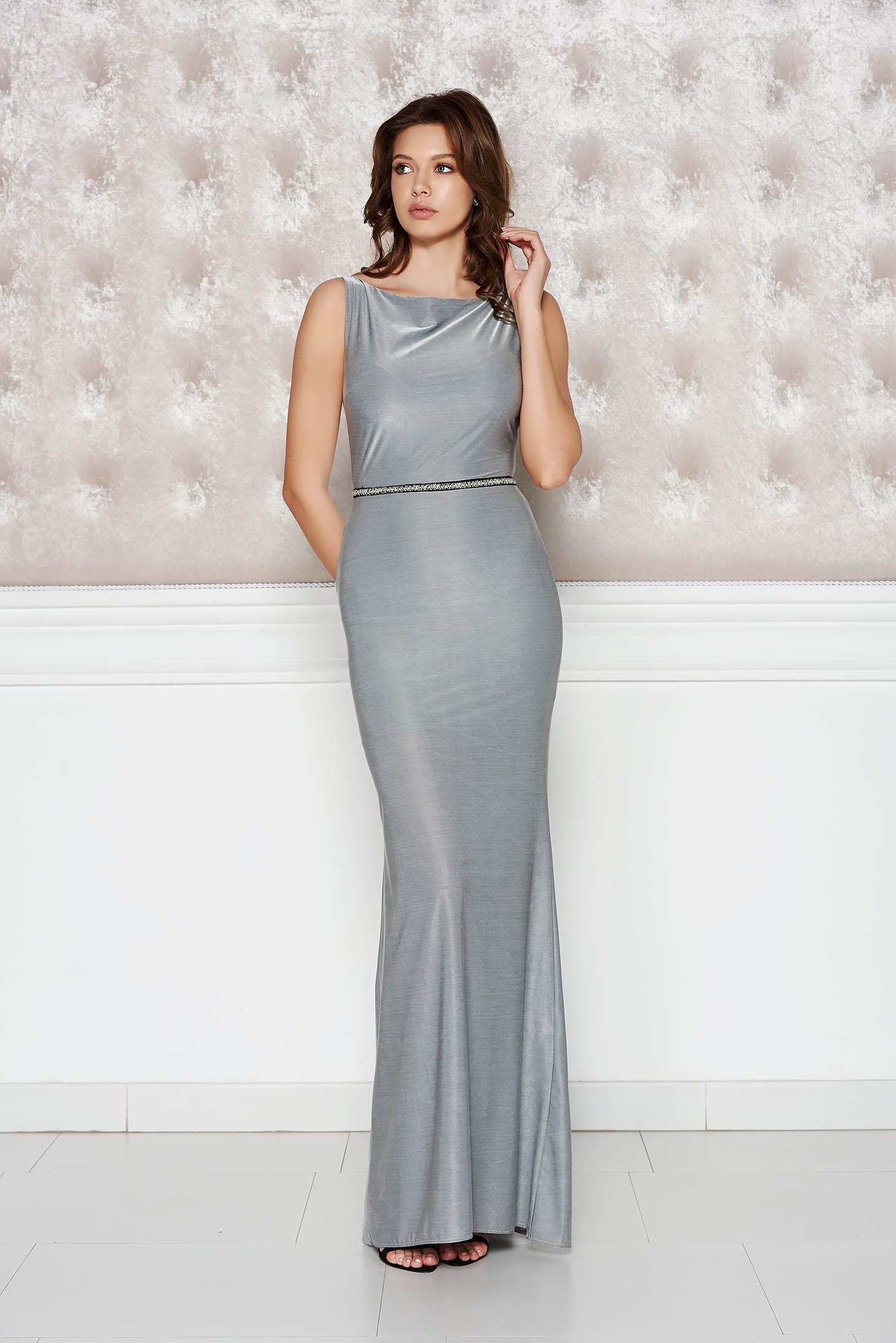 Ezüst StarShinerS alkalmi ruha fényes rugalmas anyag szirén tipusú dd0d028d1a