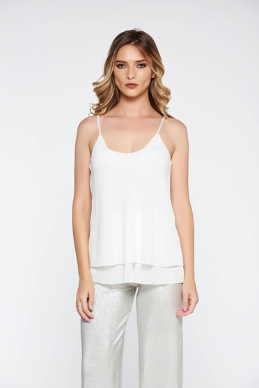 SunShine white elegant top shirt transparent chiffon fabric with easy cut