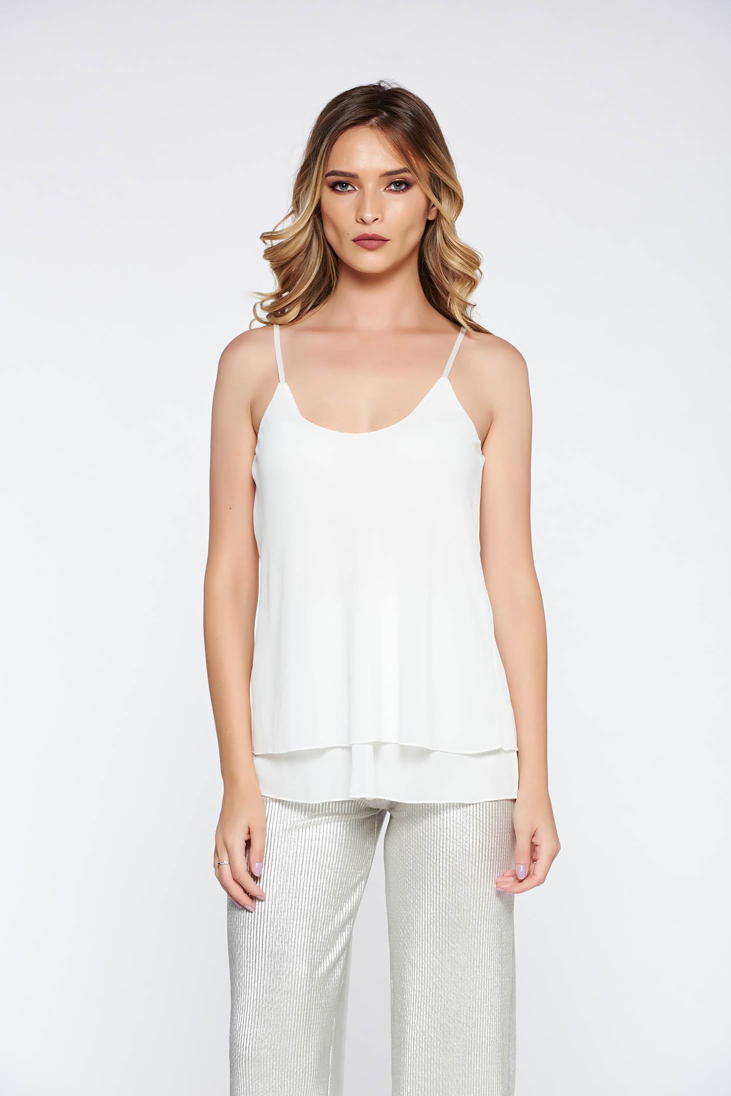 Top SunShine alb elegant cu croi larg din material vaporos si transparent