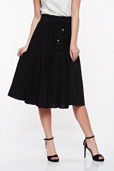 Black elegant SunShine skirt from elastic and fine fabric high waisted with laced details