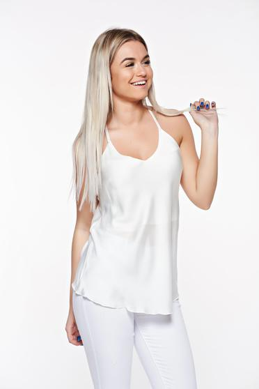 SunShine white elegant with easy cut top shirt airy fabric with straps