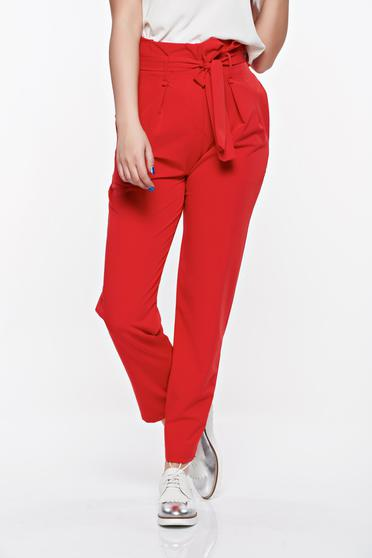 SunShine red high waisted casual trousers slightly elastic fabric with pockets