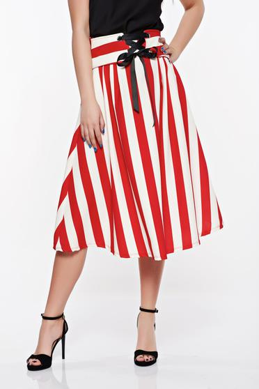 SunShine red casual cloche skirt from elastic and fine fabric with pockets