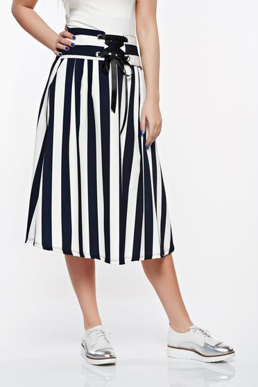 SunShine darkblue casual cloche skirt from elastic and fine fabric with pockets