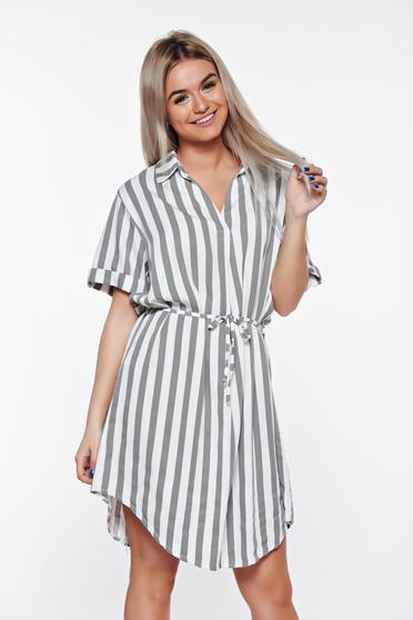 SunShine grey casual flared dress from soft fabric is fastened around the waist with a ribbon