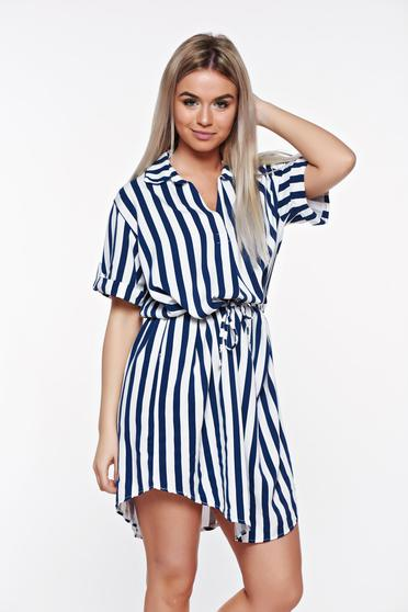 SunShine darkblue casual flared dress from soft fabric is fastened around the waist with a ribbon