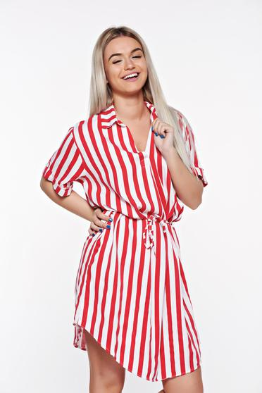 SunShine red casual flared dress from soft fabric is fastened around the waist with a ribbon