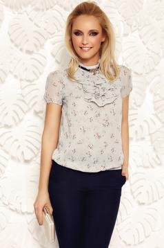 Fofy grey elegant flared women`s blouse transparent chiffon fabric with elastic waist