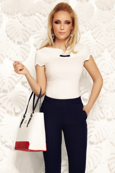Fofy white women`s shirt office elastic cotton with tented cut