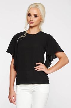 PrettyGirl black elegant women`s blouse airy fabric with easy cut slightly transparent fabric