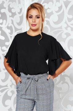 PrettyGirl black elegant women`s blouse airy fabric with easy cut slightly transparent fabric